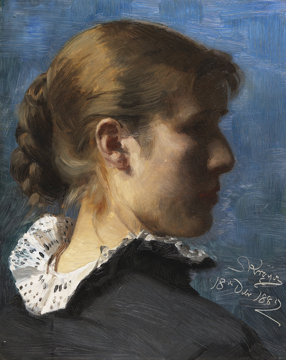 Peder Severin Krøyer  (b. 1851)  Portrait of the Painter Anne Ancher  14 ¼ x 11 ⅜ in. oil on canvas