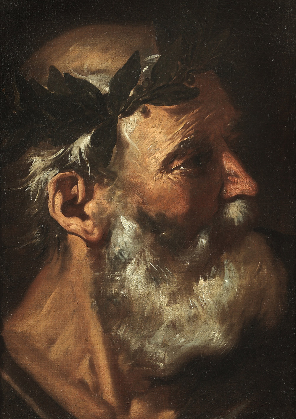 Pier Francesco Mola  (b. 1612)  Head of a Classical Poet  19 ½ x 14 ⅜ in. oil on canvas