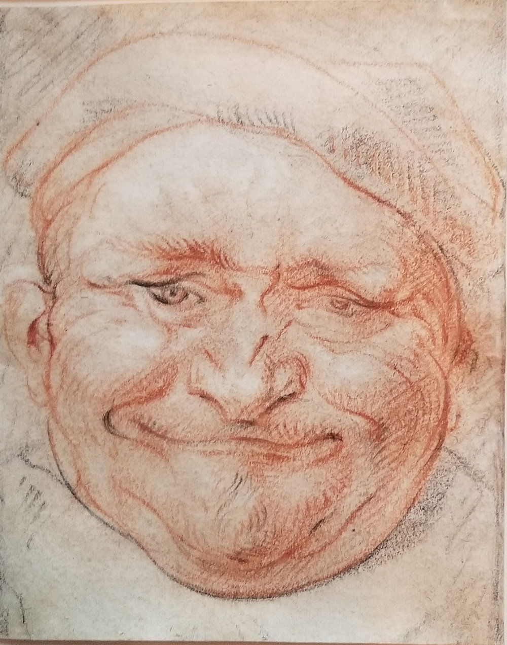 Jacob Jordaens  (b. 1593)  Democritus  5.6 x 4.4 in. colored chalk on paper