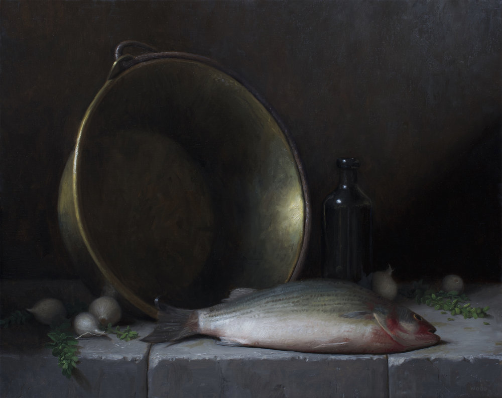 Justin Wood  (b. 1982)  Sea Bass , 2018 19 x 24 in. oil on linen