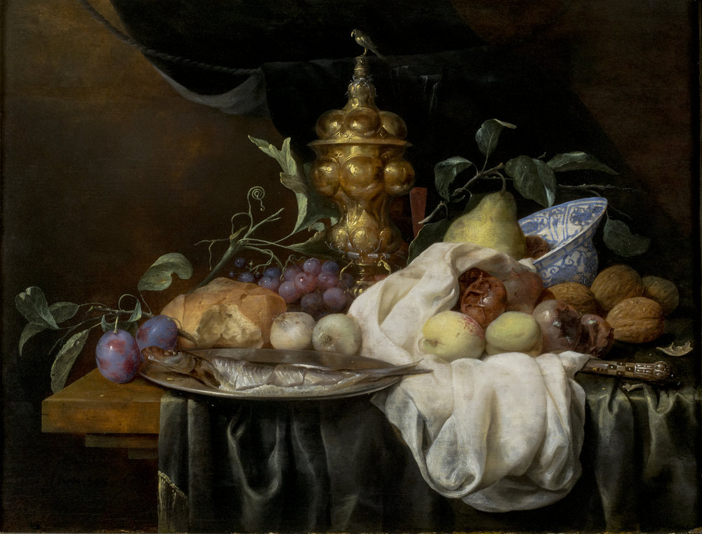 "Joris van Son  (b. 1623)  A Still-Life ""Pronk"", including a Gilt Cup and Cover, Chinese Blue and White Bowl, a Herring and Various Fruits, on a Draped Table  19 x 24 ½ in. oil on panel"