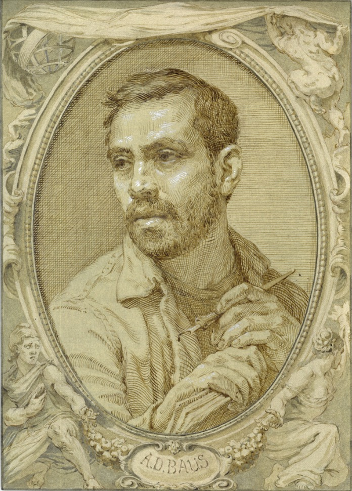 Anthony Baus  (b. 1981)  Self Portrait , 2017 9 x 12 in. ink and wash, gouache on paper