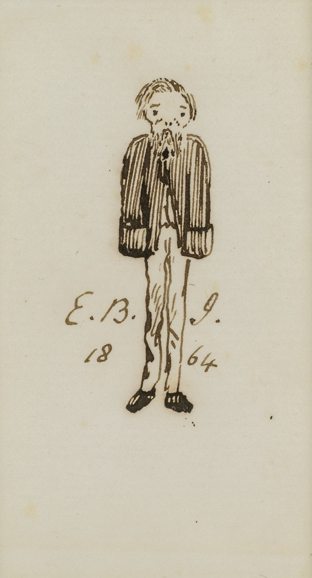 Sir Edward Coley Burne-Jones  (b. 1833)  Self-portrait,  1864 3 ½ x 2 ¼ in. pen and ink on paper