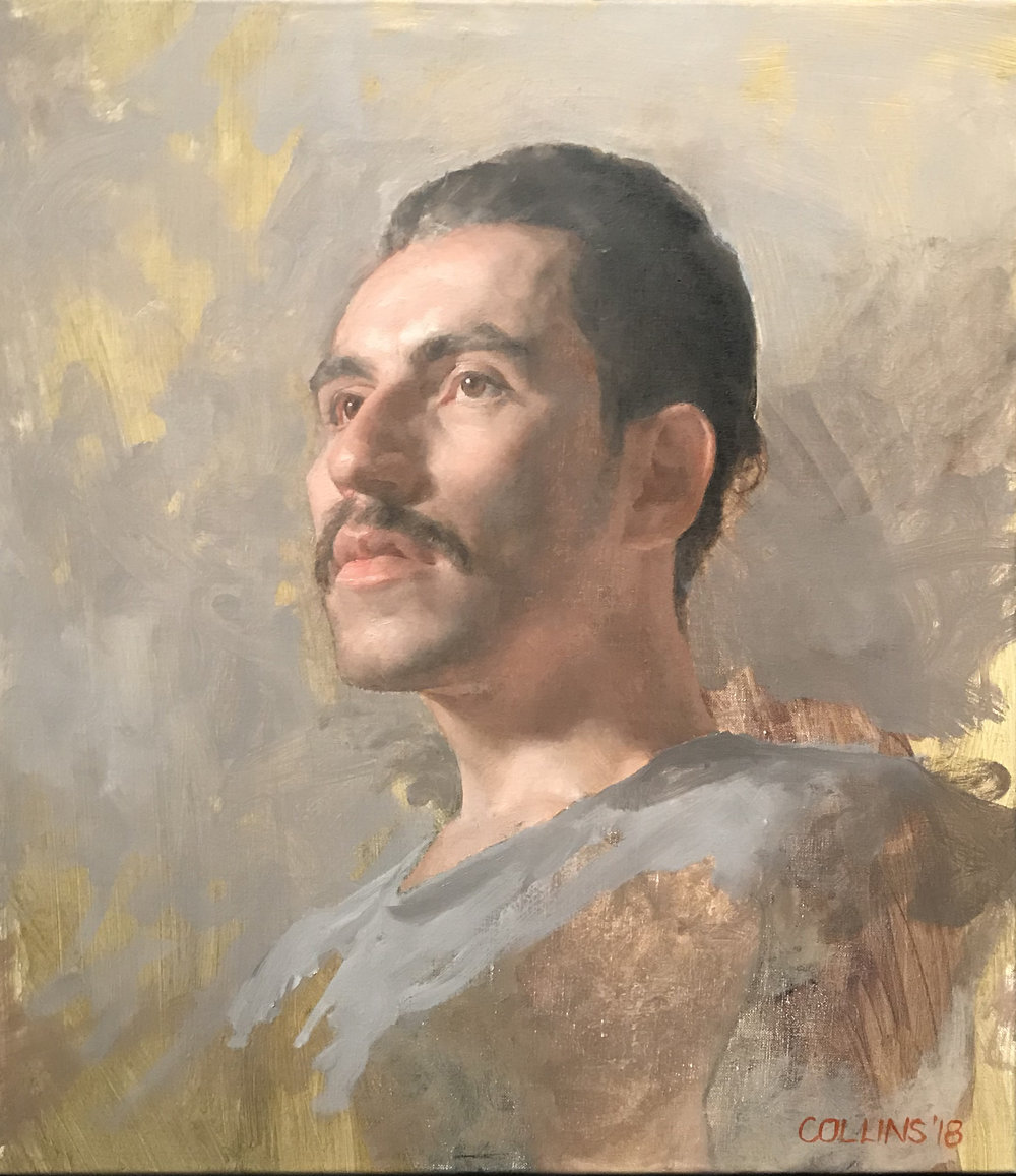 Jacob Collins  (b. 1964)  Diego , 2018 18 x 16 in. oil on canvas