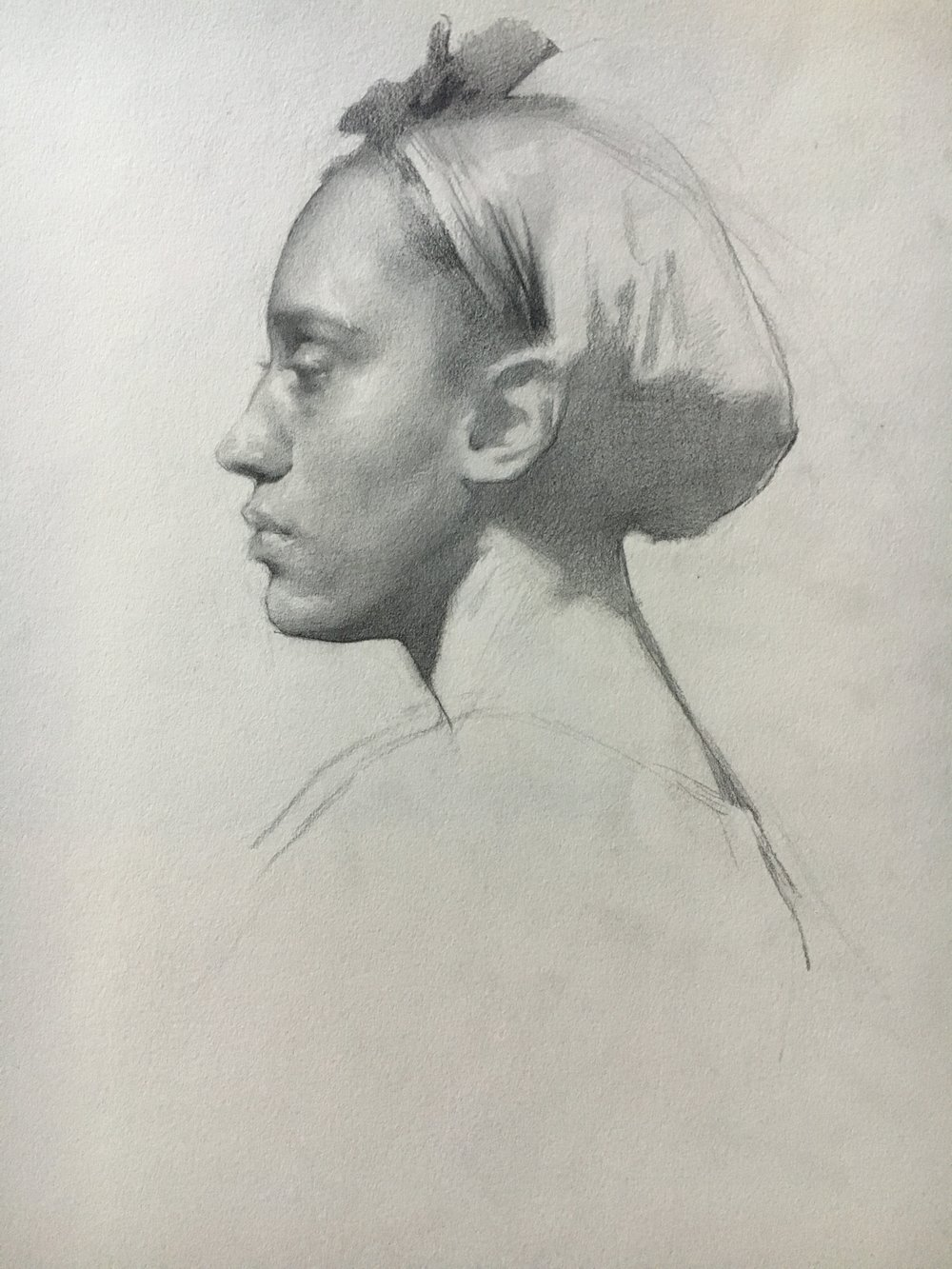 Portrait Demo - Kima in Profile  by Colleen Barry, 2018 12 x 12.5 in, graphite on paper   SOLD