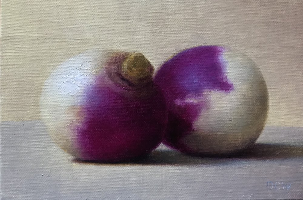 Purple Tops  by Devin Cecil-Wishing, 2018 4 x 6 in, oil on linen