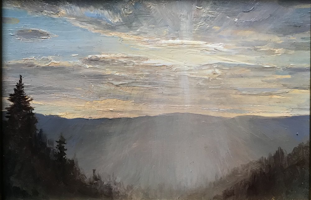 Sunset in the Mountains  by Lauren Sansaricq, 2018 5 x 7 in, oil on panel