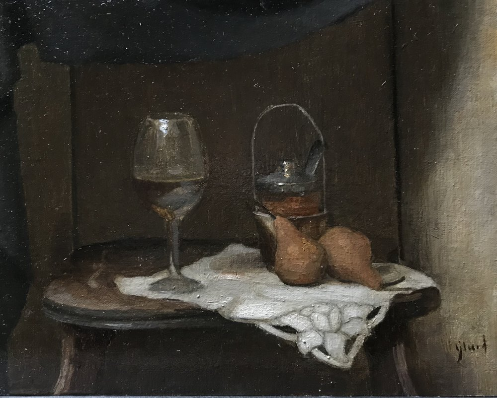 White Wine and Pears  by Elizabeth Beard, 2018 8 x 10 in, oil on canvas