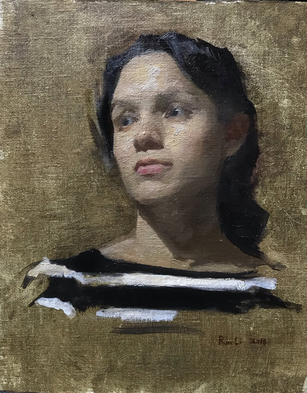 Sandra  by Rachel Li, 2018 8 x 10 in, oil on linen