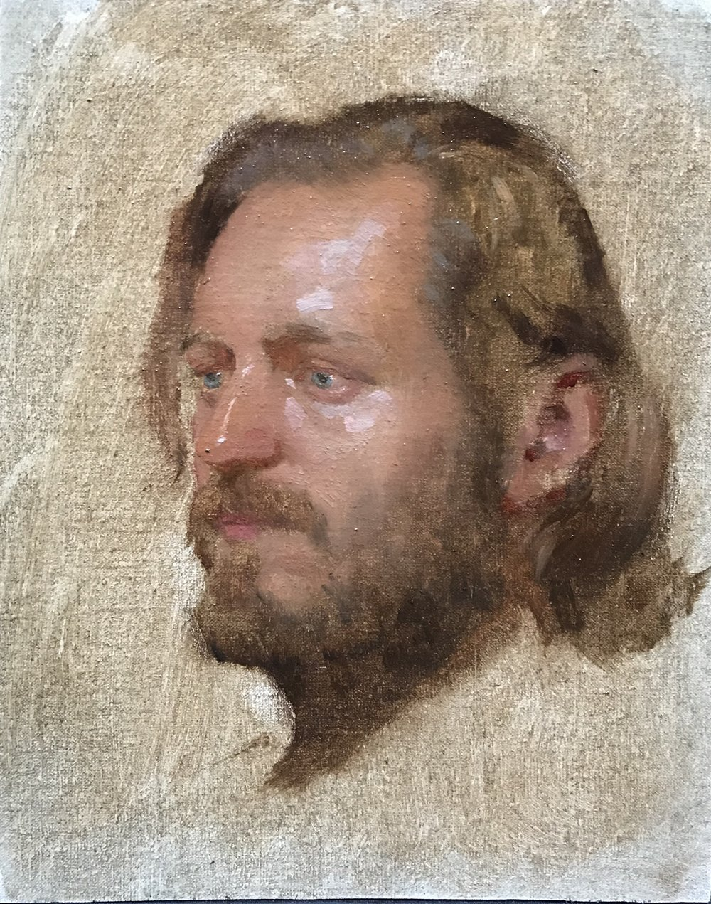 Sketch of a young man  by Kevin Müller Cisneros, 2018 8 x 10 in, oil on canvas