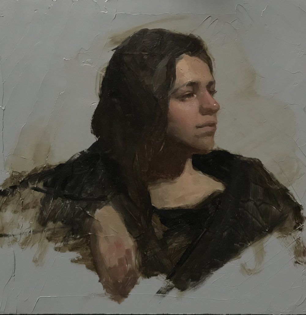 Portrait study  by Sandra Sanchez, 2018 12 x 8 in, oil on panel