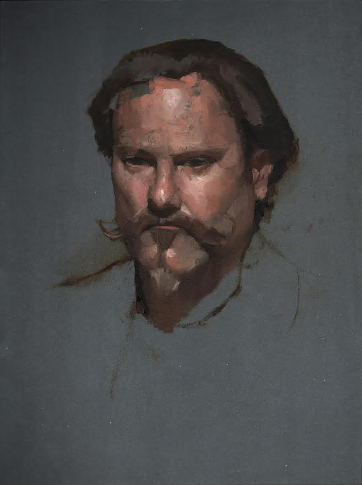 Portrait Sketch  by Gregory Mortenson, 2018 12 x 10 in, oil on paper