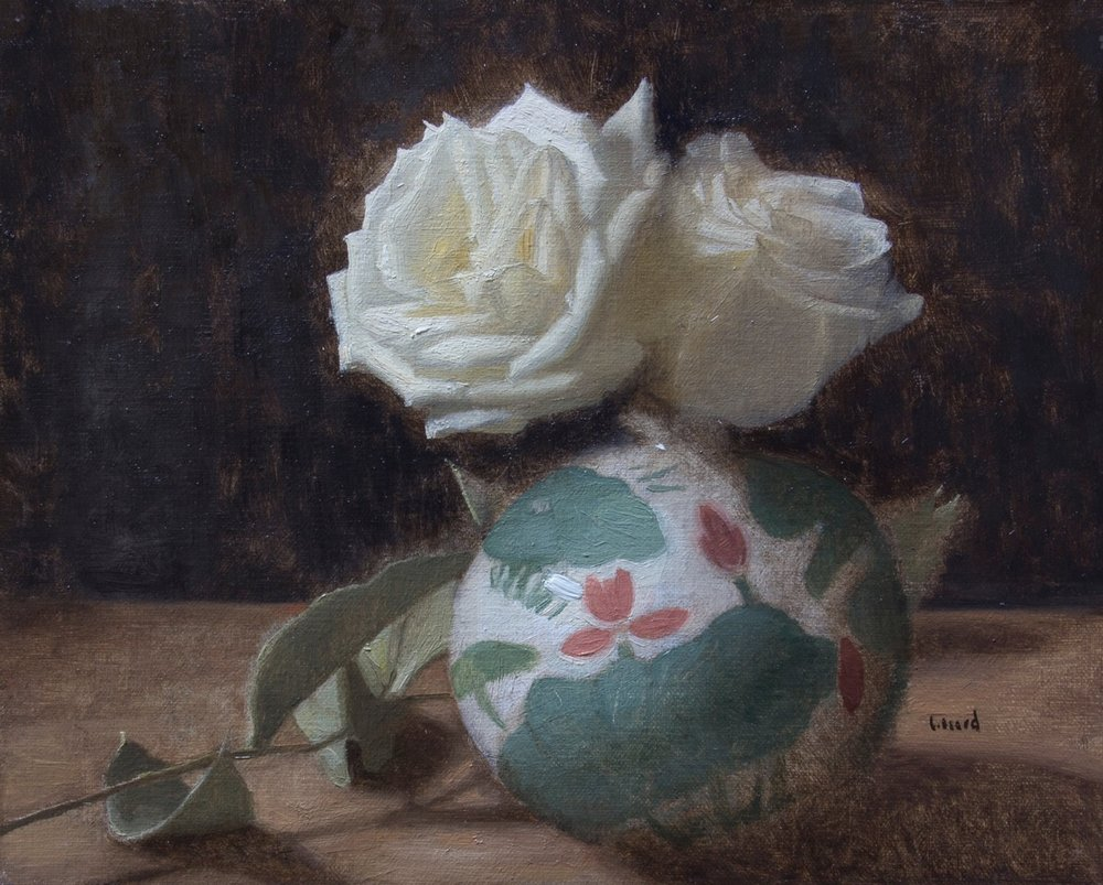 Painted Vase and White Roses  by Elizabeth Beard, 2018, oil on canvas, 8 x 10 in, $1,050