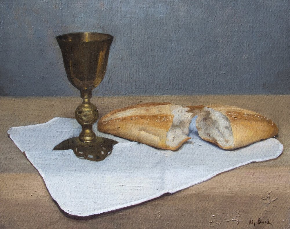 Bread and Wine Sketch  by Elizabeth Beard, 2018, oil on canvas, 8 x 10 in, $950