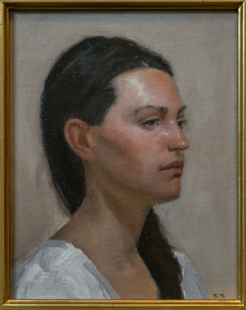 Sketch of a Young Woman  by Tsultrim Tenzin, oil on linen, 10 x 8 in, $250
