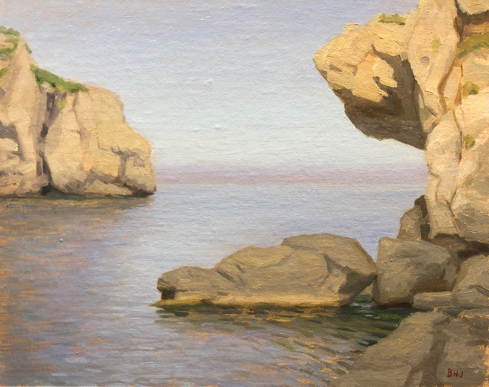 Cala de Deya Majorca  by Brendan Johnston, 2015, oil on linen, 8 x 10 in, $850