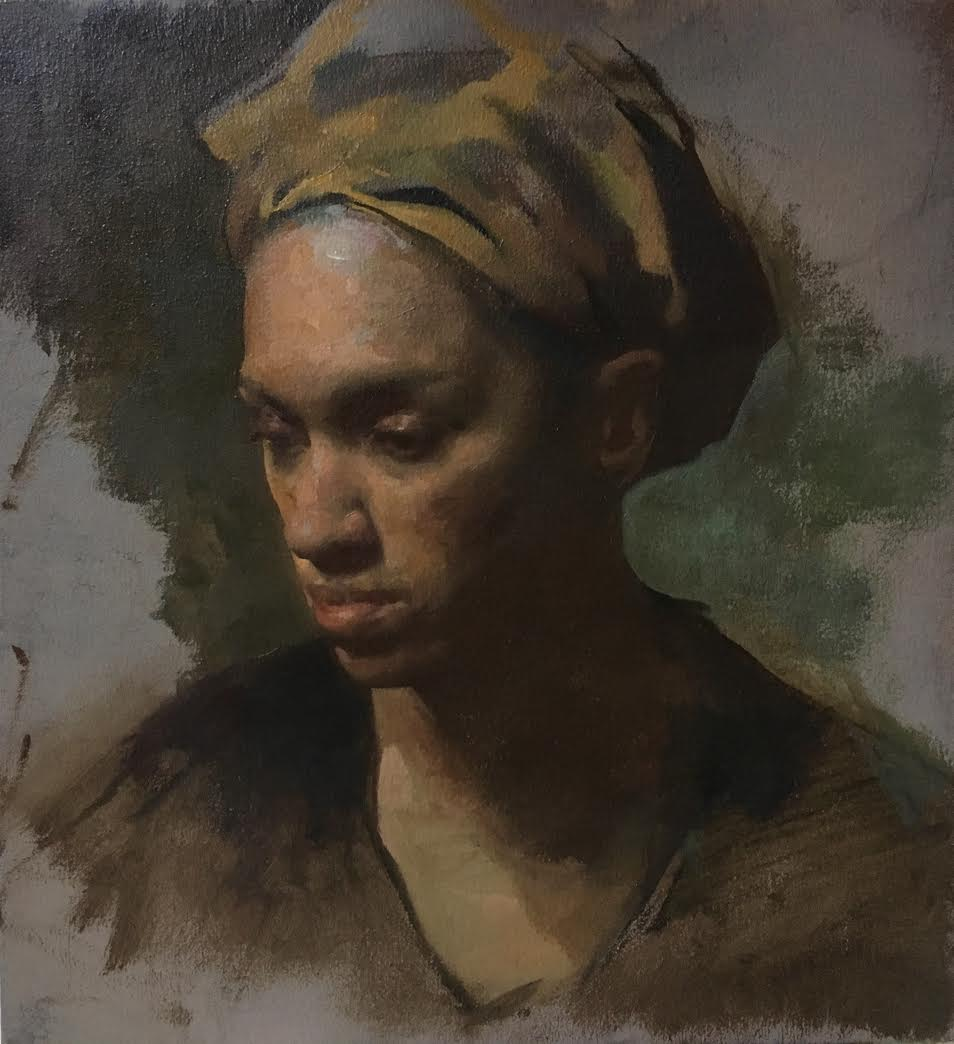 Woman in Head Scarf  by Colleen Barry, 2018, oil on linen, 11 x 11 in, $1,200
