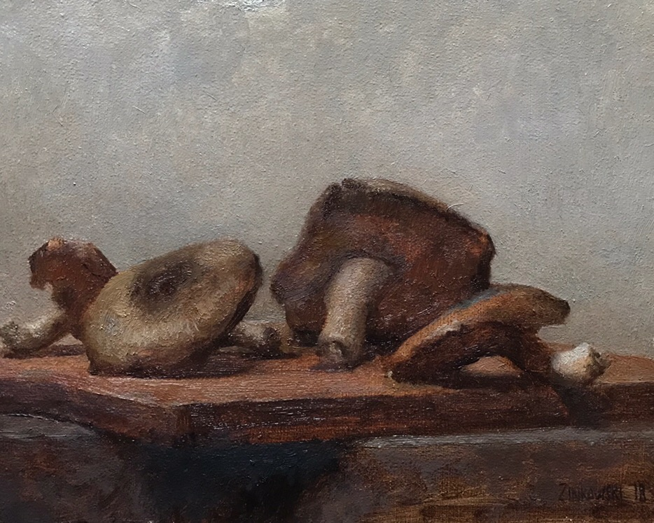 Shiitake Mushrooms  by Dale Zinkowski, 2018, oil on panel, 8.25 x 6.25 in, $950
