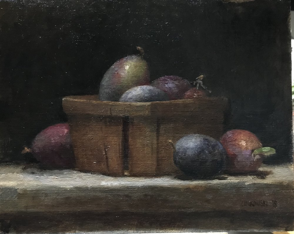 Italian Plums  by Dale Zinkowski, 2018, oil on linen, 8 x 10 in, $950