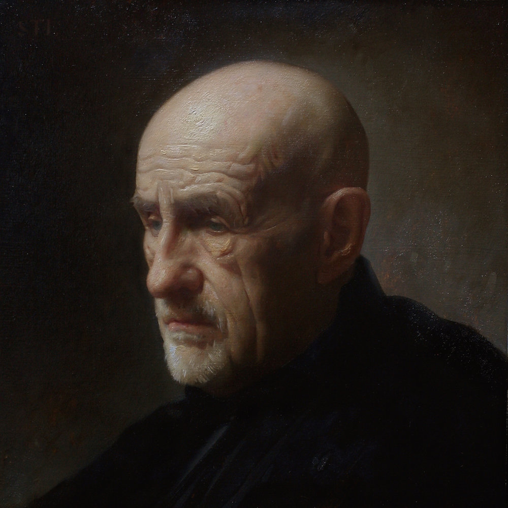 Old Man in Black  by Will St. John, 2017, oil on panel, 12 x 12 in, $4,800