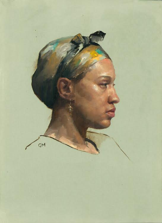 Head Wrap  by Gregory Mortenson, 2018, oil on paper, 12 x 10 in, $900