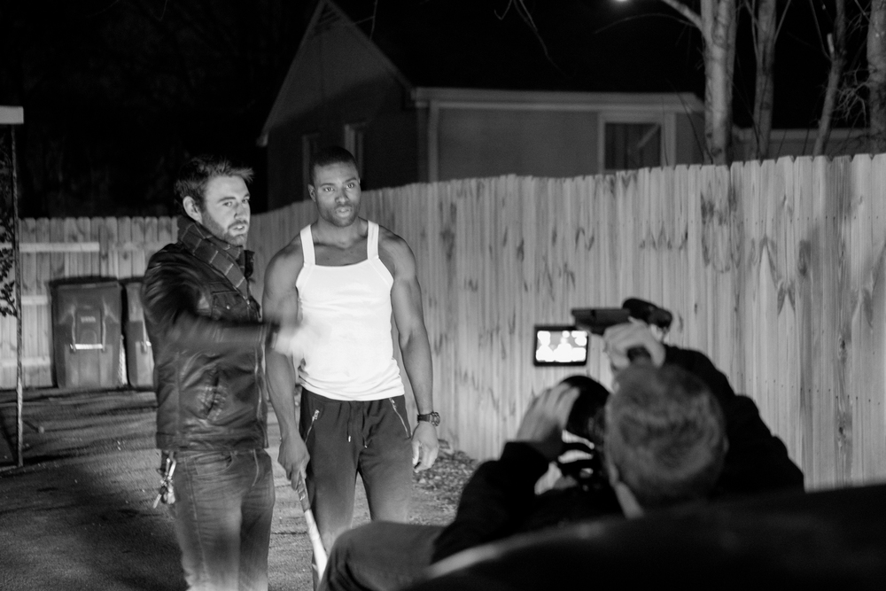 Directing Chase Tucker(Lotto) in Date #4 as Andy Burchett gets ready to shoot Chase's scene where he approaches the car.  L to R: Dustin Haney, Chase Tucker, Andy Burchett.
