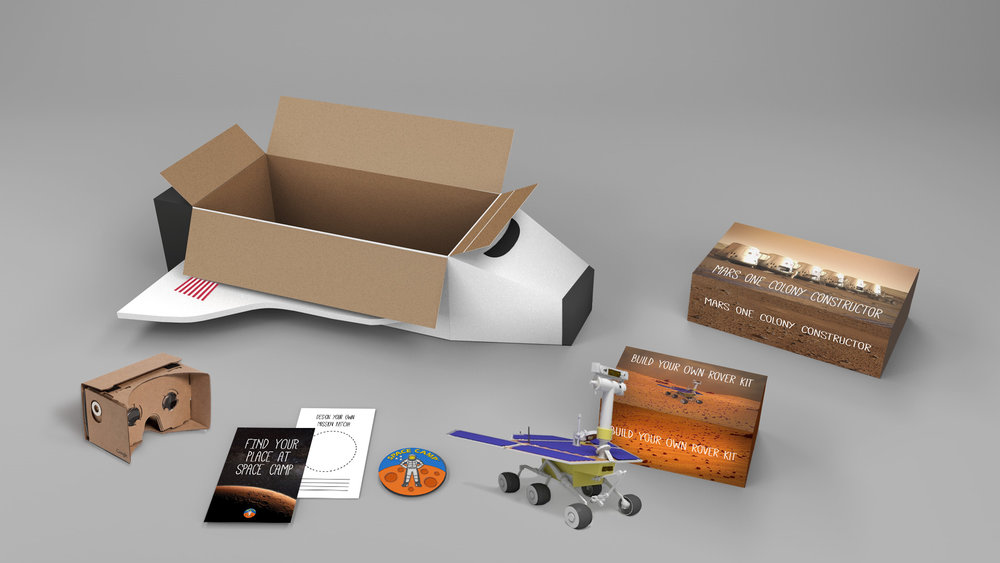 "Each kit includes:   1. Google cardboard VR headset and app for a full, immersive mars experience. 2. A build your own rover set. 3. An career aptitude test to determine what role your child would best be suited for in an actual mission to Mars.  4. A Mars colony constructor. 5. The special edition ""Mission To Mars"" patch."