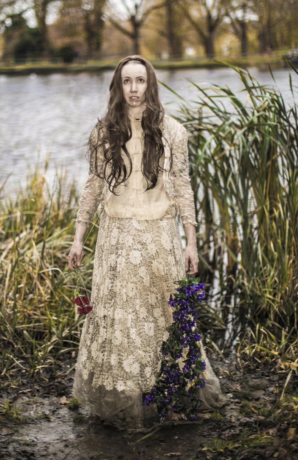 Recreation of Ophelia painting photoshoot with Thomas Hensher