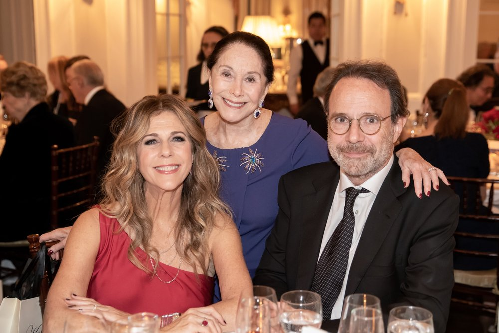 Rita Wilson, Joan Kahn, Marc Levy at Annual Gala Dinner of American Friends of Blérancourt  at Private Club in New York on 11/09/2018 (photo by Annie Watt Agency / Sipa USA
