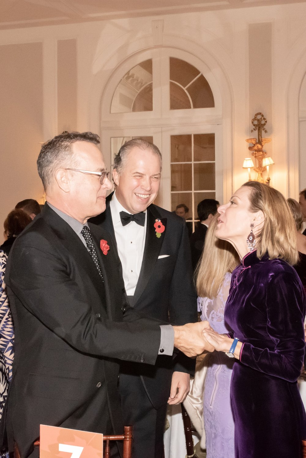 Tom Hanks, James Gerard, Emanuela Gerard at Annual Gala Dinner of American Friends of Blérancourt  at Private Club in New York on 11/09/2018 (photo by Annie Watt Agency / Sipa USA