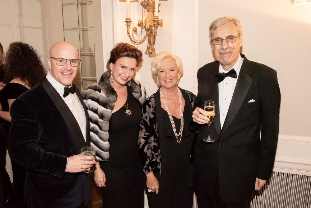 Eric Jirgens, Vanessa Uzan, Elaine Uzan Leary, Andrew Kotchoubey at Annual Gala Dinner of American Friends of Blérancourt  at Private Club in New York on 11/09/2018 (photo by Annie Watt Agency / Sipa USA