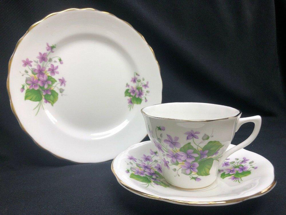Rosina Bone China England Violet Flowes Trio Set (Teacup, Saucer, Dessert Plate)    $19.99