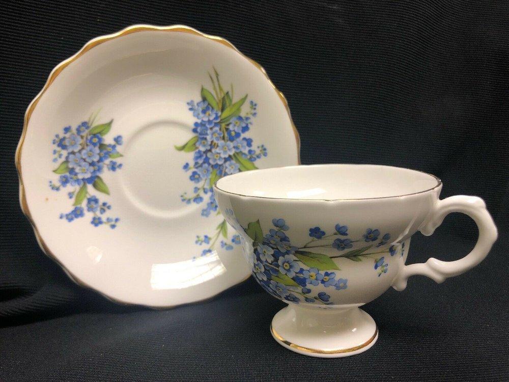 Rosina Fine Bone China Tea Cup & Saucer Blue Flowers Made In England    $14.99