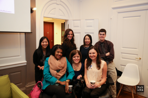 Pictured (R-L): Tiffany Yu, Natalia Mendez, Liz Taub, Becky Curran, Donna Lee, Alex McArthur, Matt Savage (photo credit: Felix Chen)