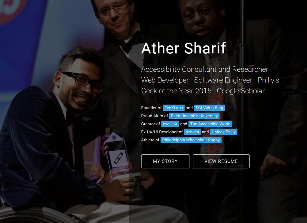 arther sharif homepage screenshot