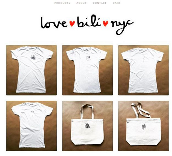 "Pictured: The lovebili homepage. Logo in black script with the words ""love"", ""bili"" and ""nyc"" separated by red hearts across the top. Below a 3 by 2 grid of their featured products- white tote bags and white t-shirts displaying functional symbols of disability: wheelchair, canes, and walker."