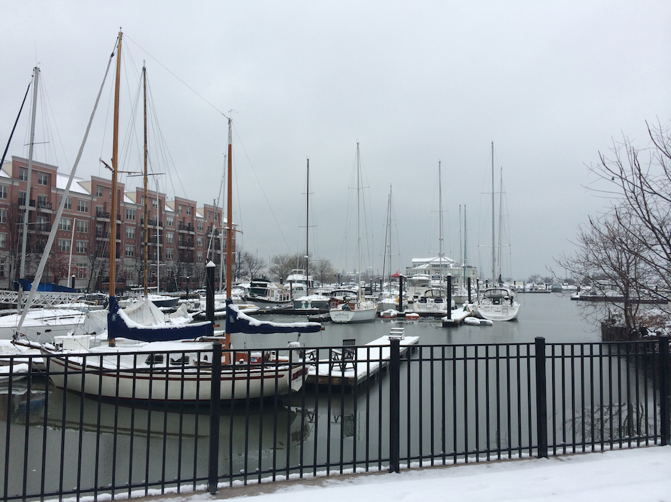 Snow-covered Liberty Landing Marina