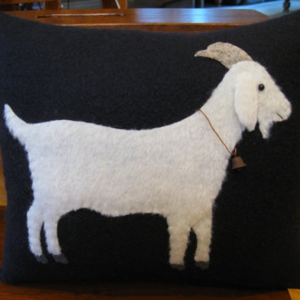 Goat Wool Applique Pillow
