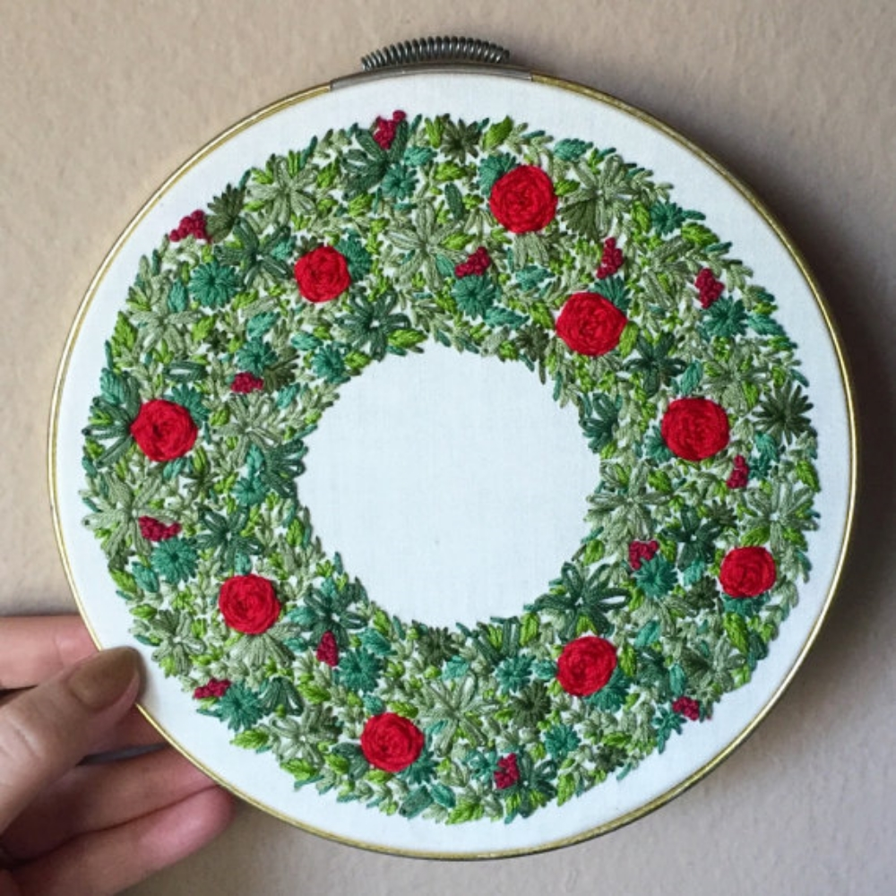 Embroidered Christmas Wreath