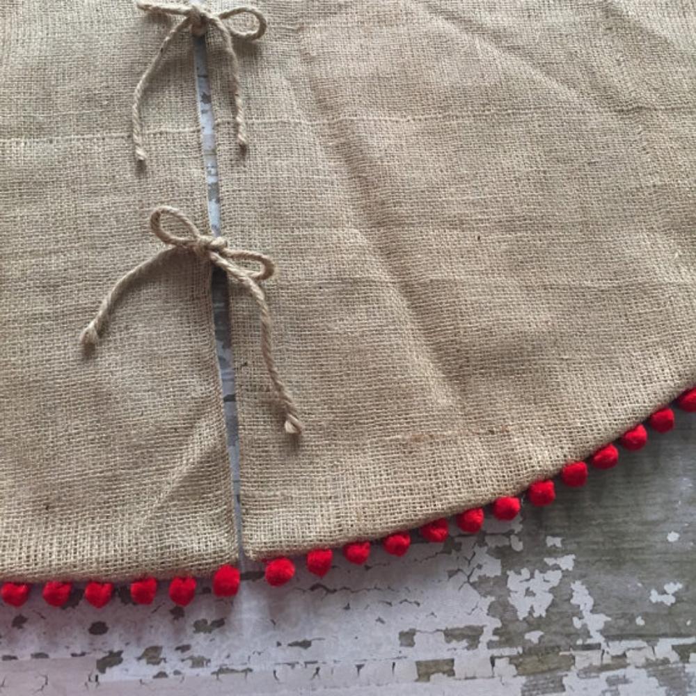 Burlap Tree Skirt With Red Pom Fringe