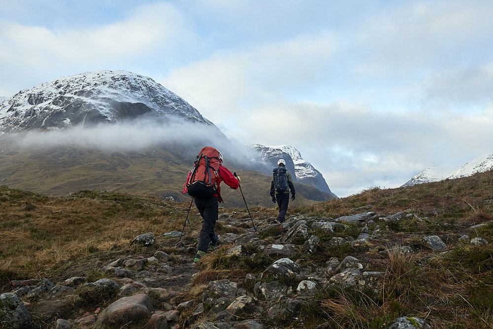 The approach into Buachaille Etive Beag. The lack of snow in Glencoe made for a quick, no-nonsense walk in. Nothing compares to walking through a snowless glen with the snow capped destination beyond!
