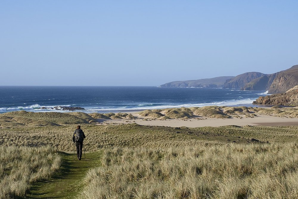 The final miles. Sandwood Bay and Cape Wrath on the horizon.