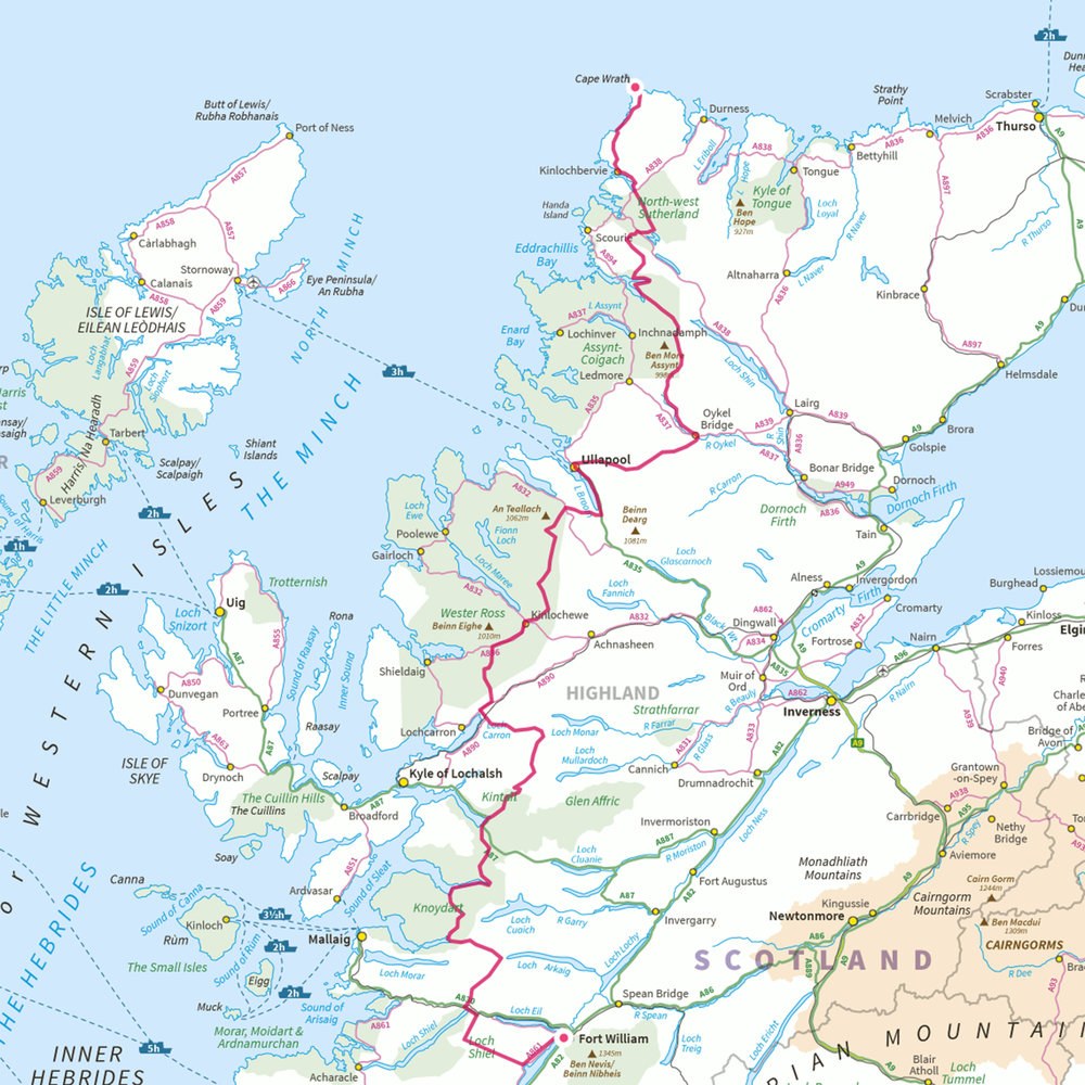The 370km route: starting from Fort William and ending at Cape Wrath.