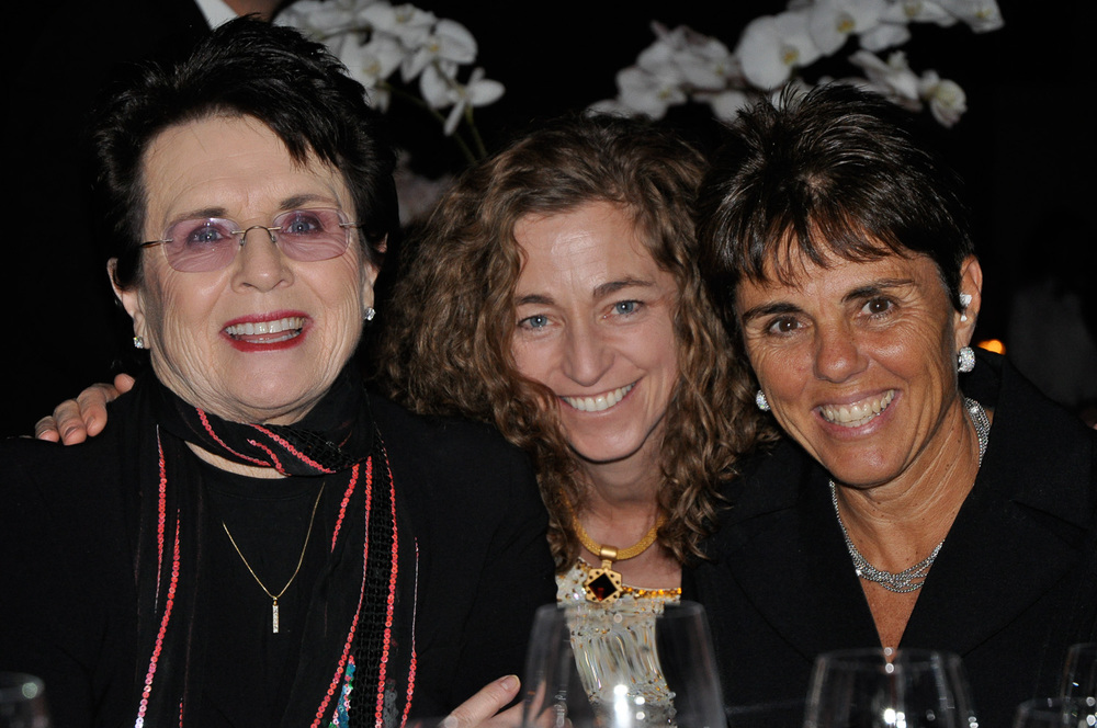 Group hug: Billie Jean King, partner Ilana Kloss and Sharon at an EJAF event