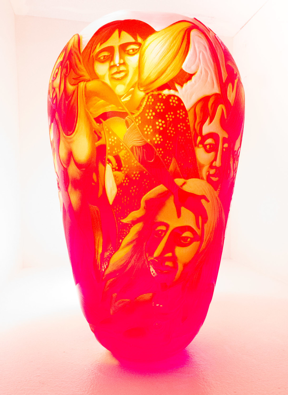 Interesting vase from Lisabeth Sterling: engraved blown cameo glass