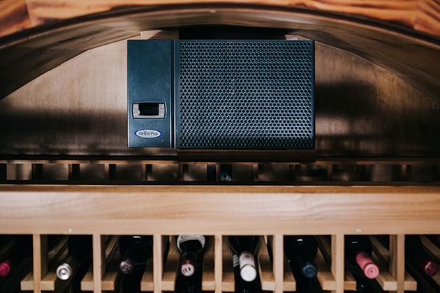 A chilled wine system protects a treasured collection of rare wines.