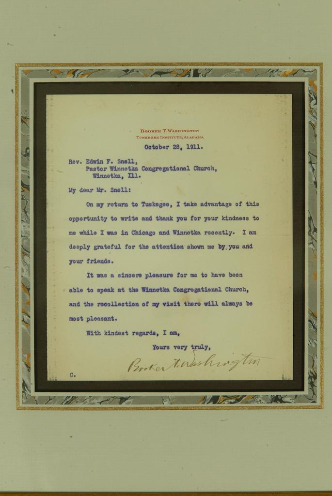 Booker T. Washington Signed Letter on Tuskegee Institute Letterhead, October 11, 1911
