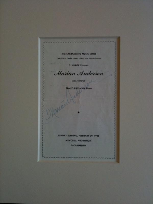 Marian Anderson Sacramento Music Series Program Autographed by Marian Anderson, February 29, 1948