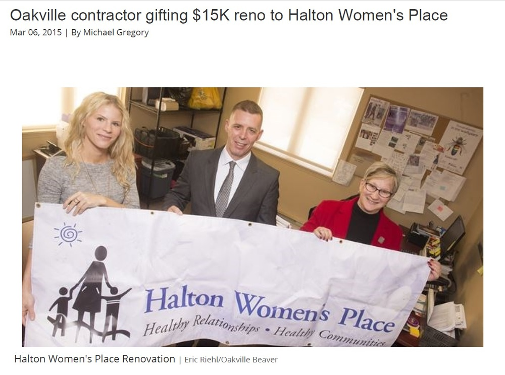 Oakville Beaver - Renovation Angels - Halton Womens Place