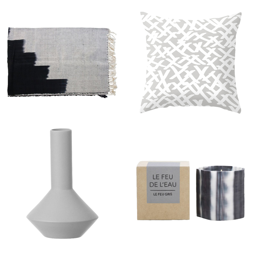 Throw from Shoppe by Amber Interiors ,  Pillow from Mod Pieces ,  Candle from HD Buttercup ,  Vase from Design Public